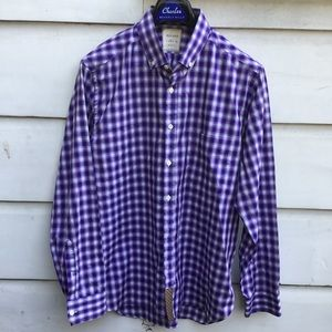 Men's Billy Reid purple plaid button down shirt L